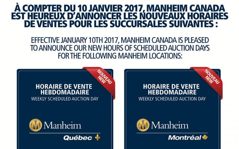 Changement d'horaire pour Manheim Canada