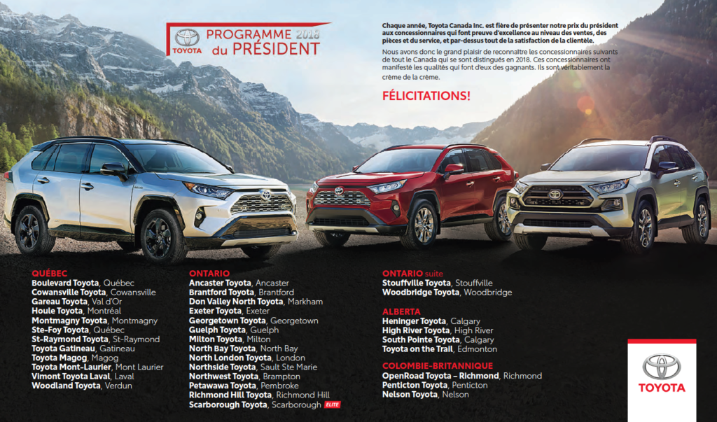 Toyota prix du président 2018