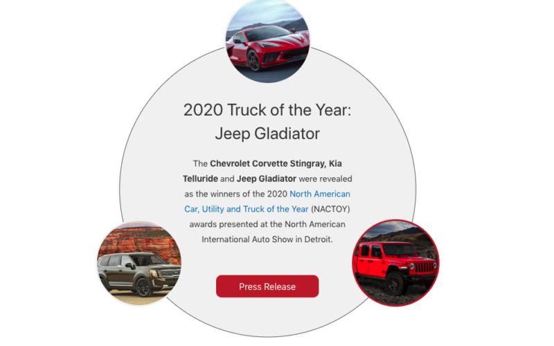 La Chevrolet Corvette, le Jeep Gladiator et le Kia Telluride, lauréats de l'Auto de l'année en Amérique du Nord