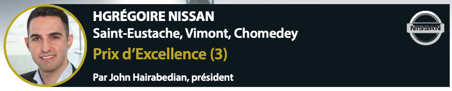 HGrégoire Nissan Prix de l'Excellence
