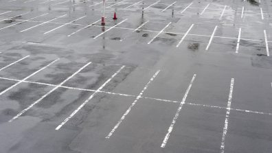 an empty carpark on a wet day